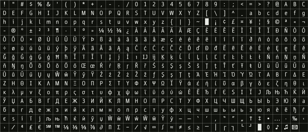Cinecav UI, a companion to the Cinecav closed caption font set