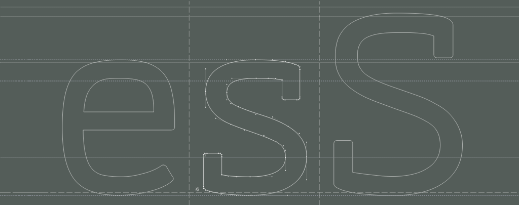Working on the lowercase S from Cinecav Serif